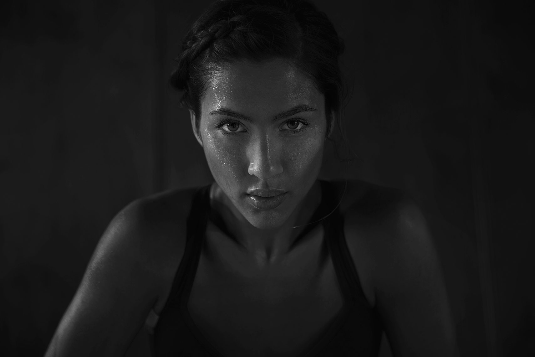 Black and white portrait, female athlete